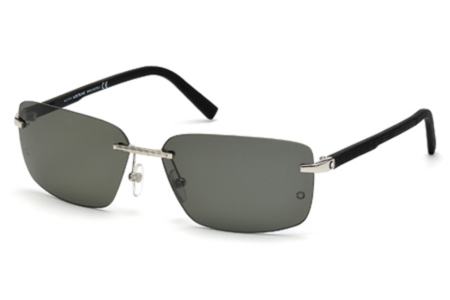 Mont Blanc MB465S Sunglasses in 16R Shiny Palladium / Green Polarized